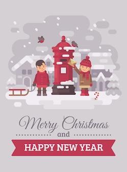 Dos niños lindos que envían una carta a la tarjeta de felicitación de navidad de papá noel ilustración plana