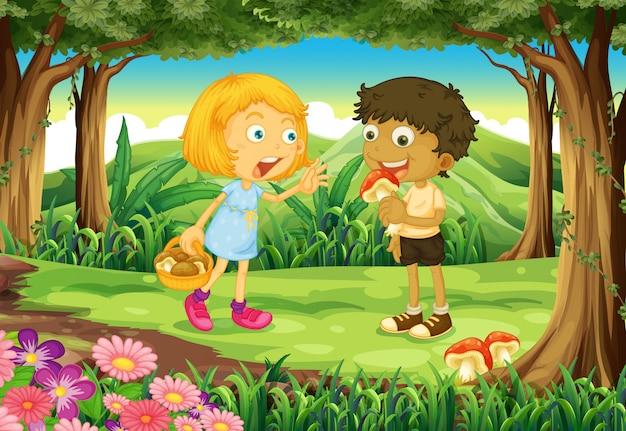 Dos niños en medio del bosque.