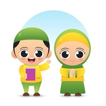 Dos niños musulmanes lindos usan vector de ilustración de traje musulmán