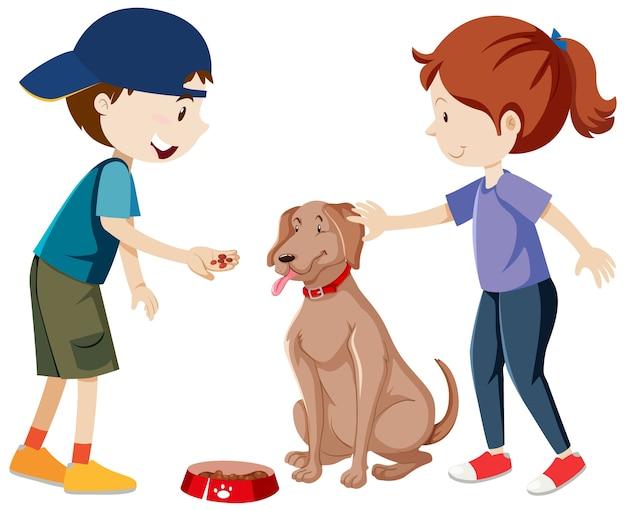 Dos niños practicando y alimentando a su perro de dibujos animados aislado