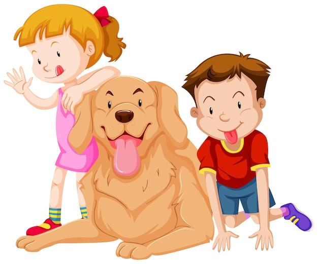 Dos niños con su perro mascota.