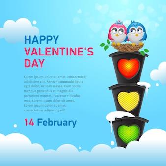 Dos pájaros enamorados en un nido en un semáforo. banner de feliz dia de san valentin