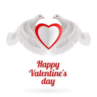Dos palomas blancas tiene corazón rojo-blanco en alas sobre fondo blanco.