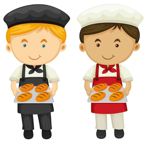 Dos panaderos con pan recién horneado
