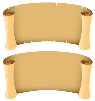 Dos pancartas en blanco en estilo medieval