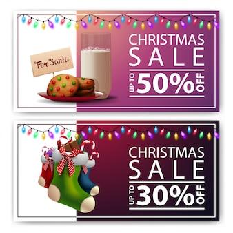 Dos pancartas de descuento navideño con galletas con un vaso de leche para santa claus y medias navideñas
