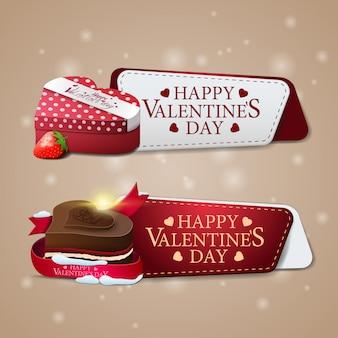 Dos pancartas de felicitación para el día de san valentín con bombones y regalo.