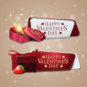Dos pancartas de felicitación para el día de san valentín con regalo.