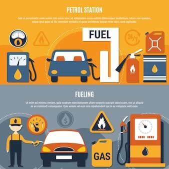Dos pancartas horizontales de bombas de combustible con gasolineras y descripciones de combustible