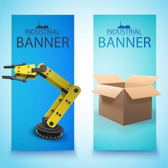 Dos pancartas industriales aisladas con caja en fábrica y brazo robot amarillo