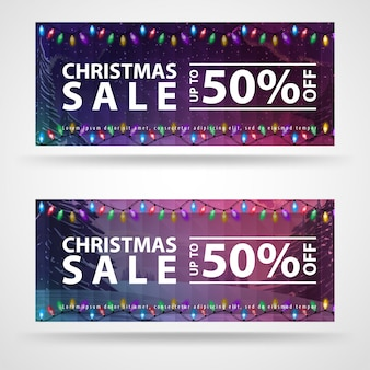 Dos pancartas navideñas con hermoso paisaje invernal.
