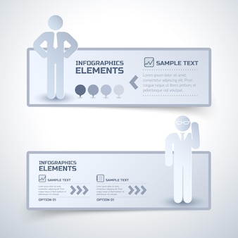 Dos pancartas de negocios grises con figuras de hombres y lugares para titulares