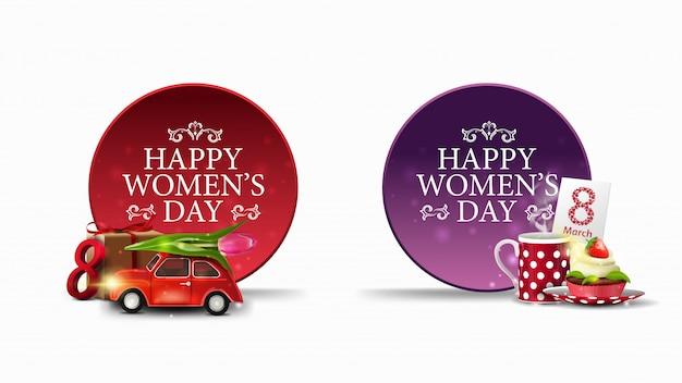 Dos pancartas redondas de felicitación para el día de la mujer.