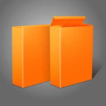 Dos paquetes de papel en blanco de color naranja brillante realistas para copos de maíz