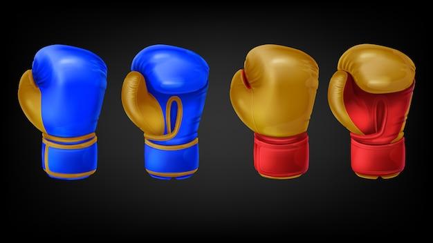 Dos pares de guantes de boxeo de cuero.