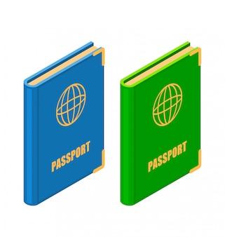 Dos pasaportes en estilo isométrico.