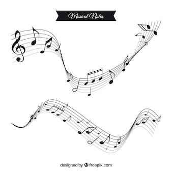 Dos pentagramas ondulados con notas musicales en diseño plano