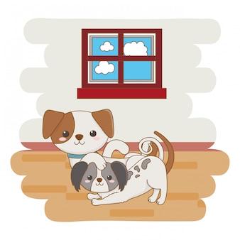 Dos perros jugando ilustración de dibujos animados