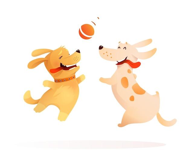 Dos perros mejores amigos jugando juntos, un cachorro y un perro saltando en el aire para atrapar una pelota. felices mascotas de perrito saltando a buscar una pelota. ilustración de vector para niños.