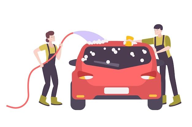 Dos personajes felices en uniforme lavando coche con jabón plano