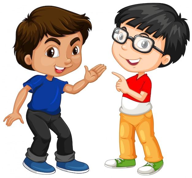 Dos personajes de niño con cara feliz.
