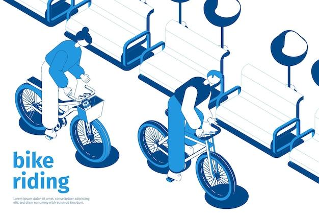 Dos personas en bicicleta composición isométrica.