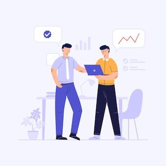 Dos personas discutiendo con socios de trabajo para colaborar, ilustración de diseño conceptual de ilustración de negocio de inicio