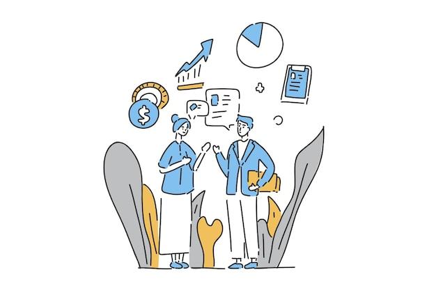 Dos personas hablan dibujo de mano de ilustración de negocios