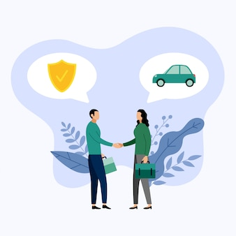 Dos personas hablan sobre seguros de automóviles, ilustración vectorial