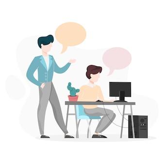 Dos personas hablando en la oficina. mujer sentada