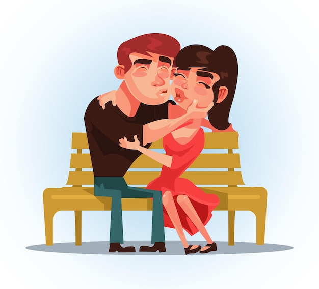 Dos personas hombre y mujer sentados en un banco y besándose. primera fecha.
