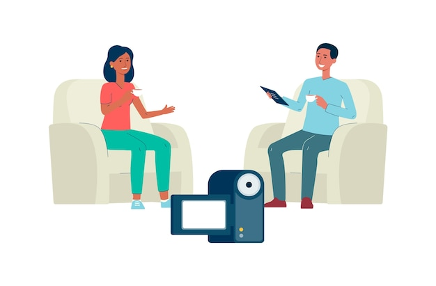Dos personas en video entrevista frente a cámara