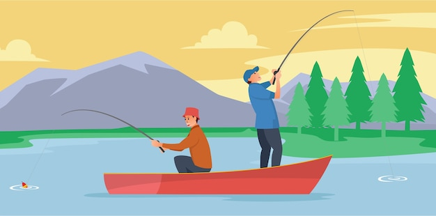 Dos pescadores están en medio del lago usando una balsa para pescar.