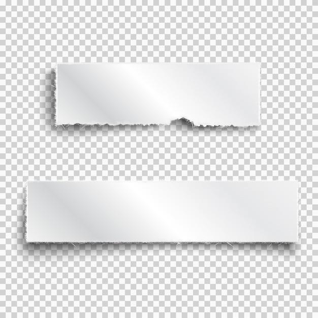 Dos piezas de papel blanco realista rasgadas con sombras