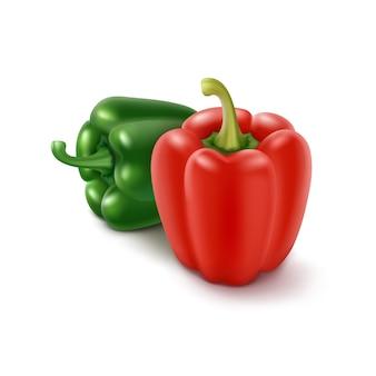 Dos pimientos verdes y rojos dulces búlgaros