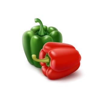 Dos pimientos verdes y rojos sobre fondo