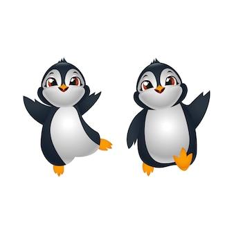Dos pingüinos de dibujos animados lindo feliz