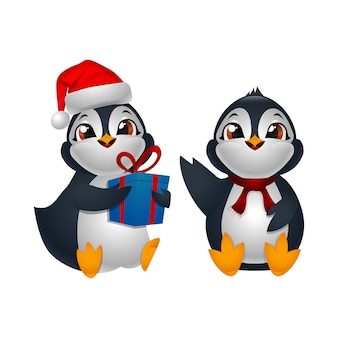 Dos pingüinos de dibujos animados lindo sentado
