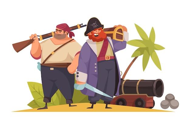 Dos piratas de dibujos animados con cañón de espada y cofre de madera