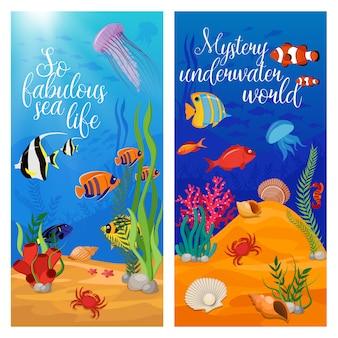 Dos plantas de animales marinos verticales con peces y títulos