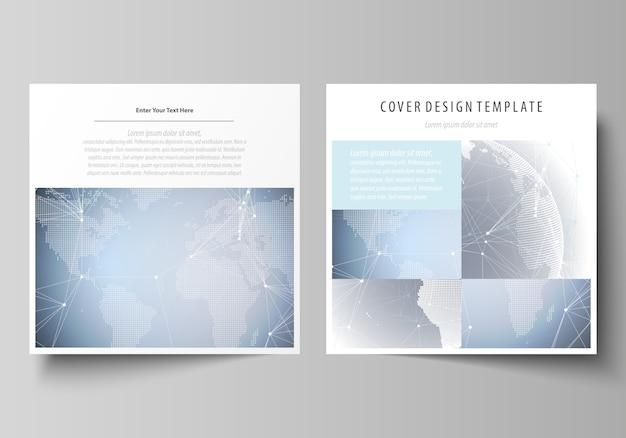 Dos plantillas de portadas de formato cuadrado para folleto.