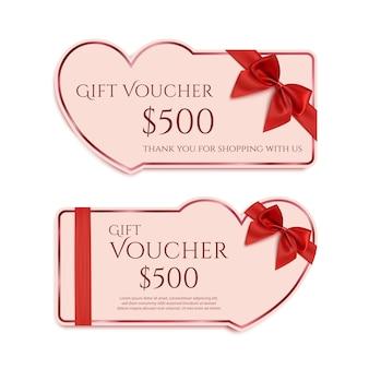 Dos plantillas de tarjetas de regalo con cinta roja y un lazo. concepto de banner de día de san valentín.