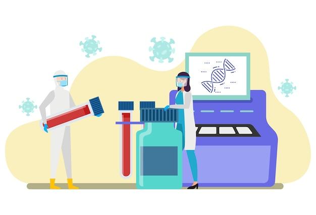Dos profesionales de la salud están analizando los resultados de la prueba rápida y la prueba con hisopo en un laboratorio