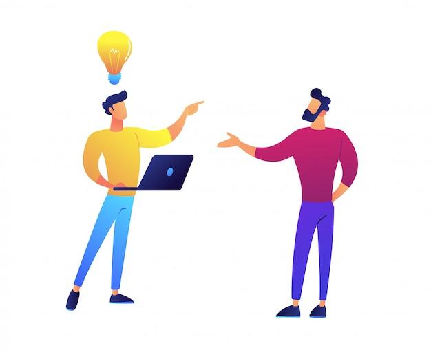 Dos programadores intercambian ideas y tienen una idea de ilustración vectorial.