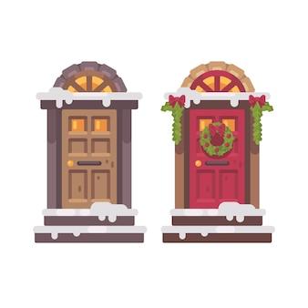 Dos puertas de invierno. navidad decorada ilustración plana porche