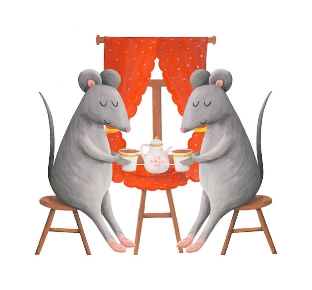 Dos ratones lindos bebiendo té en la mesa, ilustración infantil.