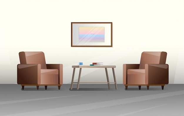 Dos sillas y una mesa en una habitación.
