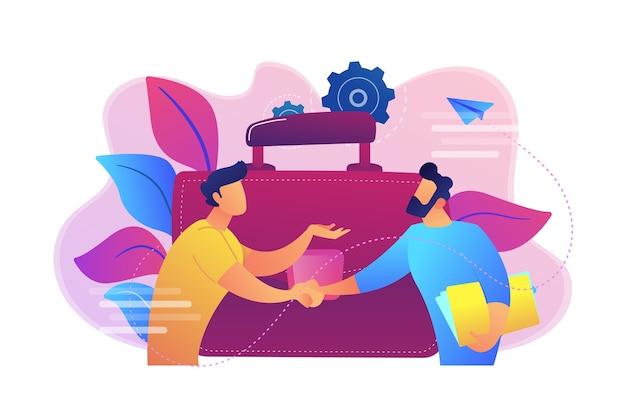 Dos socios comerciales dándose la mano y una gran ilustración de maletín