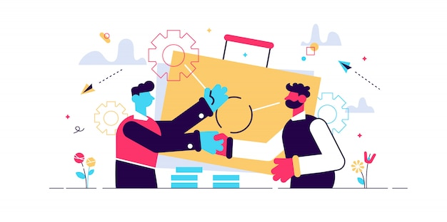 Dos socios de negocios dándose la mano y gran maletín. la sociedad y el acuerdo, la cooperación y el trato completaron el concepto en el fondo blanco. ilustración aislada violeta vibrante brillante