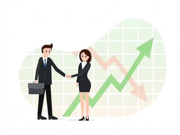Dos socios de negocios dándose la mano